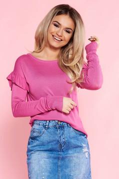 Pink Top Secret casual bő szabású pulóver kötött anyag fodrozott ujjakkal