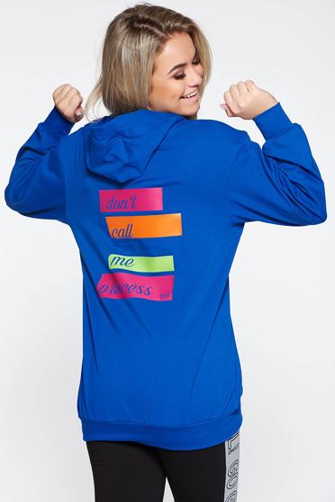 Kék MissQ hanorák casual nyomtatott mintával a kapucni nem távolítható el