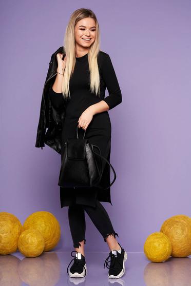 Fekete StarShinerS casual szűk szabás hosszú női blúz rugalmas anyagból