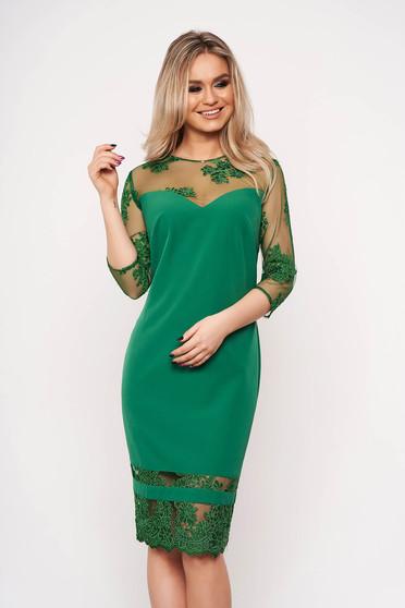 Zöld alkalmi ceruza ruha enyhén rugalmas anyagból csipke ujj