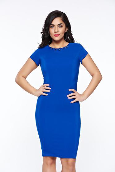 Kék LaDonna elegáns ceruza ruha kézzel varrott díszítésekkel belső béléssel