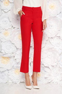 Piros irodai zsebes nadrág enyhén elasztikus szövet egyenes szabás