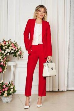 Piros irodai egyenes szabású zsebes nadrág enyhén rugalmas szövetből