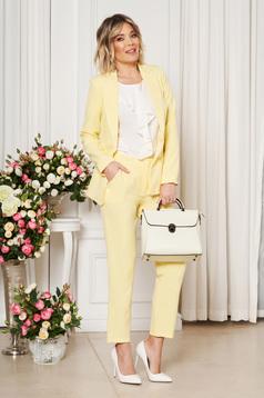 Sárga irodai egyenes szabású zsebes nadrág enyhén rugalmas szövetből