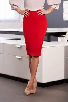 Piros StarShinerS irodai magas derekú elegáns ceruza szoknya enyhén rugalmas anyagból