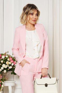 Pink Artista irodai blézer belső béléssel kiegészítőkkel ellátott zsebek rugalmatlan szövet