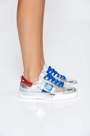 Ezüst casual sport cipő lapos talpú gyöngy díszítéssel
