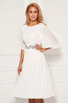 Fehér StarShinerS alkalmi rakott hímzett fátyol ruha béléssel