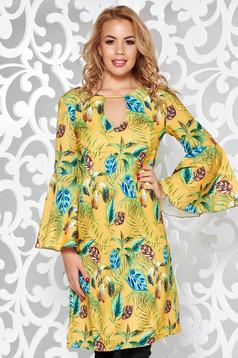 Mustar PrettyGirl hétköznapi bő szabású ruha enyhén rugalmas anyag harang ujjakkal