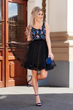 Fekete StarShinerS alkalmi harang ruha tüll belső béléssel kidomborodó virágok