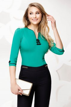 Zöld Fofy irodai női ing rugalmas pamut hímzett betétekkel