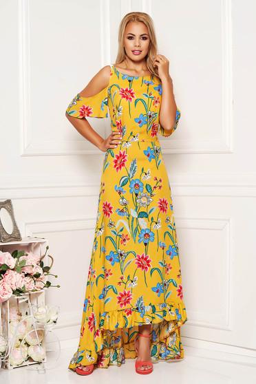 Sárga StarShinerS hétköznapi virágmintás díszítéssel aszimetrikus ruha kivágott vállrésszel vékony anyag