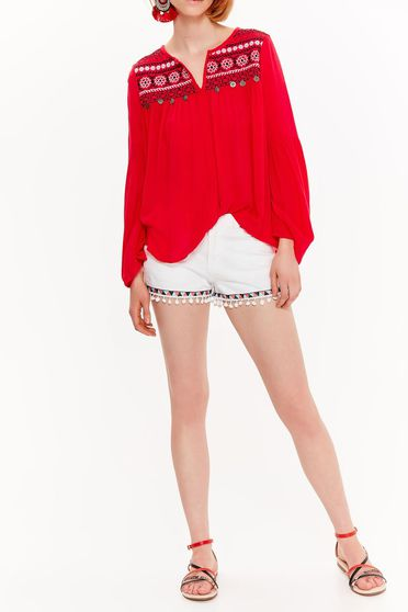 Fehér Top Secret casual rövidnadrág pamutból készült zsebes