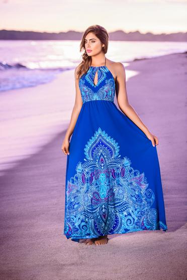 3903ce5d43 Kék Cosita Linda strandi ruha lenge anyagból derékban rugalmas