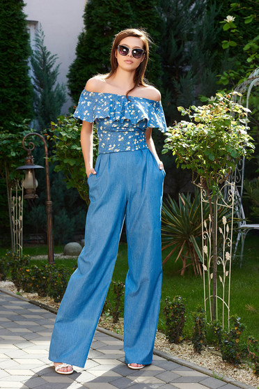 Kék StarShinerS nadrág casual farmerarnyagból magas derekú bővülő zsebes