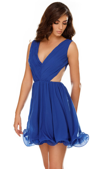 0227a6cc12 Kék ruha alkalmi fátyol harang teljesen kivágott hátrésszel belső béléssel