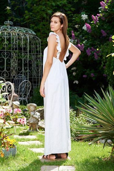 Fehér StarShinerS strandi ruha nem elasztikus pamut bő szabás teljesen kivágott hátrésszel