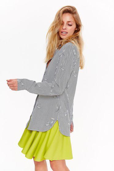 Fehér Top Secret casual bő szabású női ing lenge anyagból nyomtatott mintával