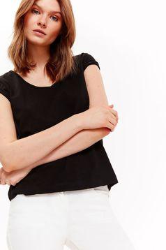 Fekete Top Secret casual pamutból készült bő szabású rövid póló