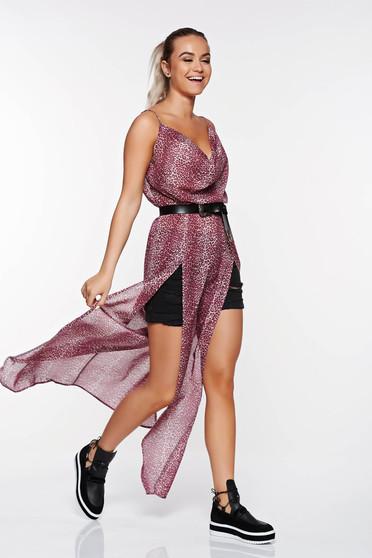 Lila StarShinerS hétköznapi ruha lenge, áttetsző anyag derékban rugalmas kivágott hátrész