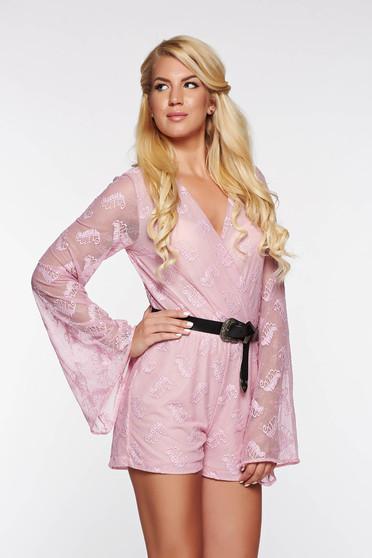 StarShinerS casual rózsaszínű overál rugalmas és finom anyag belső béléssel derékban rugalmas