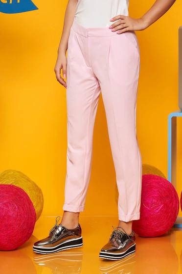 Rózsaszínű irodai zsebes kónikus nadrág enyhén rugalmas anyagból