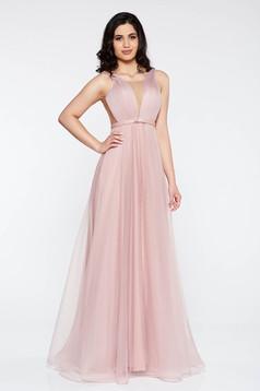 d2867f3c28 Rózsaszínű Ana Radu tüll ruha belső béléssel mély dekoltázs ...