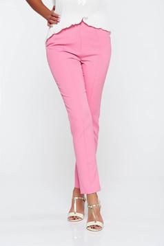 Pink elegáns hosszú kónikus nadrág zsebes enyhén elasztikus szövet