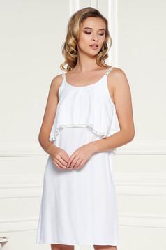 Fehér StarShinerS casual bő szabású pántos ruha rugalmatlan szellős anyagból