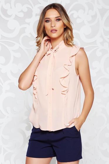 Női ing elegáns bő szabású rózsaszínű lenge anyagból fodros