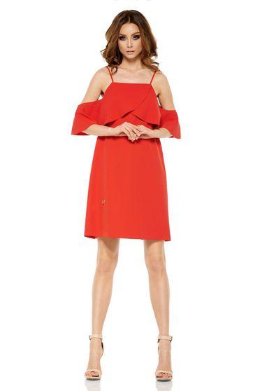 Piros Lemoniade alkalmi ruha váll nélküli bő szabású rövid finom tapintású anyag