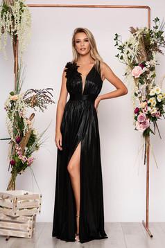 Fekete LaDonna alkalmi harang ruha fényes anyag mély dekoltázs
