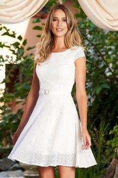 Fehér StarShinerS hétköznapi harang ruha nem elasztikus pamut belső béléssel öv típusú kiegészítővel