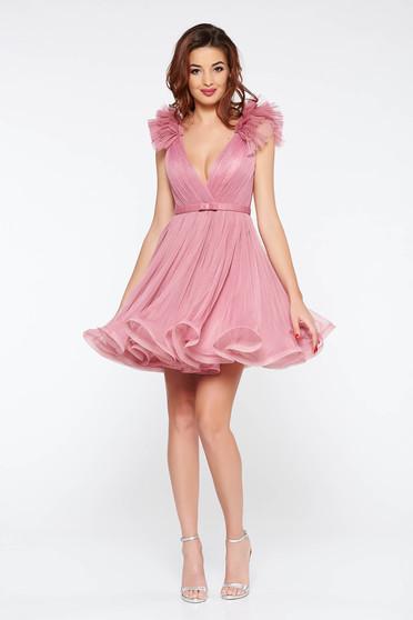 Világos rózsaszínű Ana Radu luxus harang ruha tüllből béléssel mély dekoltázzsal