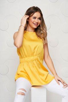 Sárga Top Secret casual aszimetrikus női blúz bő szabású derékban rugalmas szatén anyagból