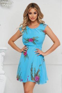Kék hétköznapi harang ruha szellős rugalmatlan anyagból és béléssel