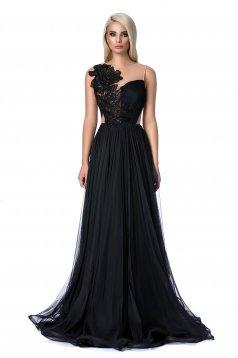 Fekete Ana Radu alkalmi harang ruha hosszú szivacsos mellrész hímzett betétekkel