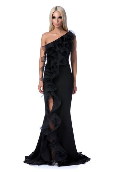 Fekete Ana Radu alkalmi ruha szűk szabás finom tapintású anyag fodros hosszú