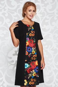 Fekete elegáns a-vonalú ruha virágmintás díszítéssel enyhén elasztikus szövet
