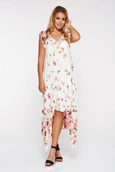 Fehér StarShinerS aszimetrikus bő szabású strandi ruha virágmintás díszítéssel