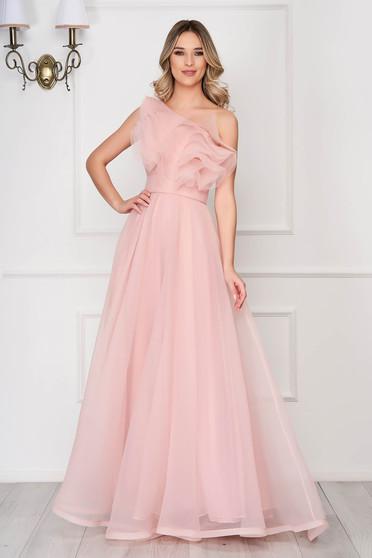 Világos rózsaszínű Ana Radu luxus fodros egy vállas ruha tüllből béléssel