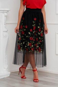 Fekete SunShine szoknya casual hímzett tüll belső béléssel magas derekú