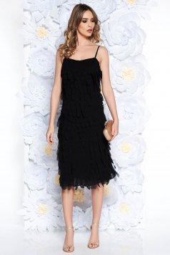 Fekete Ana Radu midi ruha egyenes szabás pántokkal