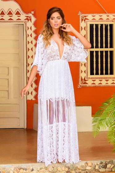 Fehér Cosita Linda strandi bő szabású ruha csipkés anyag bő ujjakkal v-dekoltázzsal