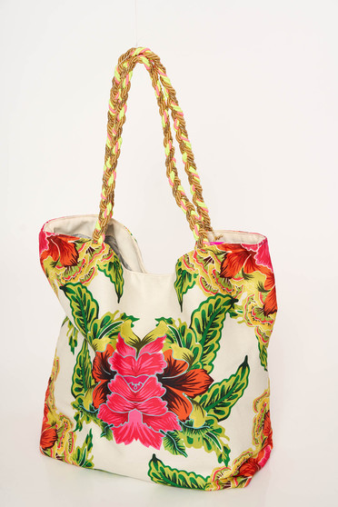 Fehér Cosita Linda táska strandi fonott pántok virágmintás díszítéssel