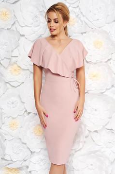 Rózsaszínű StarShinerS elegáns ceruza ruha rugalmas anyag v-dekoltázzsal