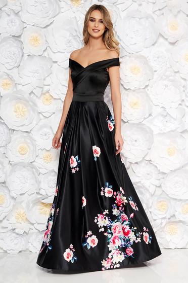 Fekete Artista alkalmi ruha szatén anyagból virágmintás díszítéssel harang váll nélküli