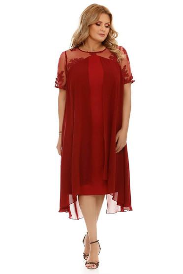 Burgundy bő szabású alkalmi ruha muszlinból csipkéből béléssel