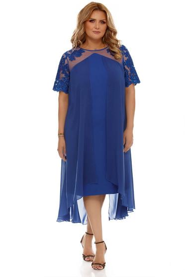Kék bő szabású alkalmi ruha muszlinból csipkéből béléssel
