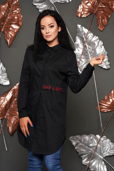 Fekete casual bő szabású hímzett asszimmetrikus női ing hosszú ujjakkal